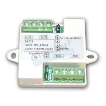 Videocitofono 2 fili distributore 2 uscite linea BUS per collegamento monitor o pulsantiere esterne in cascata.