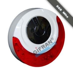 Sirena per antifurto casa senza fili da interno o esterno con batteria tampone, sirena per allarme 868 Mhz con lampeggiante autoalimentata contro i blackout.