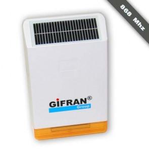 Sirena ad energia solare per antifurto casa senza fili da esterno con batteria tampone, sirena per allarme 868 Mhz bidirezionale con lampeggiante autoalimentata contro i blackout.
