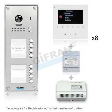 kit videocitofono 2 fili professionale monitor 4 pollici