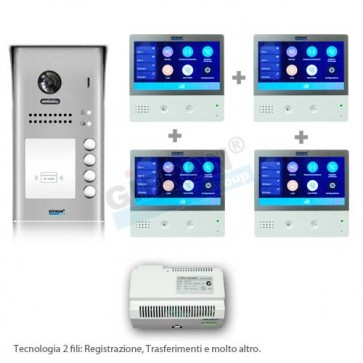 Kit videocitofono quattro appartamenti 2 fili con internet