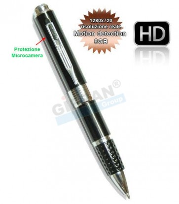 Spy Pen 8GB Penna Spia o SpyPen con microcamera HD, Scatta Foto e Registra Video in 720P reali senza interpolazione 1280*720 con funzione Motion Detection, e Audio senza essere Notati gazie alla Microtelecamera nascosta. Microcamere professionali per inve