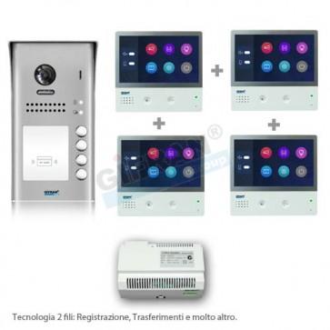 Videocitofono 4 appartamenti - kit videocitofono quadrifamiliare