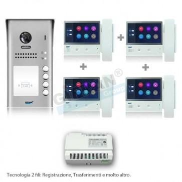 videocitofono professionale quadrifamiliare kit in offerta