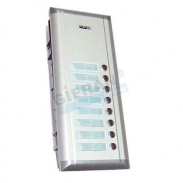 Pulsantiera videocitofono supplementare 12 appartamenti per collegamento 2 fili non polarizzati su linea BUS.