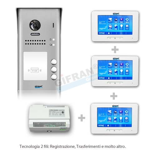 Superior Videocitofono 2 Fili Kit Pulsantiera E 3 Monitor 7 Pollici Touch Screen,  Collegamento Due Fili