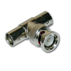 Connettore di giunzione a T per BNC per collegamenti cavo videosorveglianza, due innesti femmina, uscita mascio