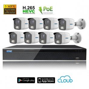 kit videosorveglianza 8 telecamere POE 5MPX grandangolo
