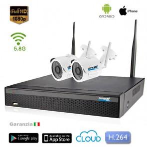 kit videosorveglianza wireless senza fili 2 telecamere 1080P