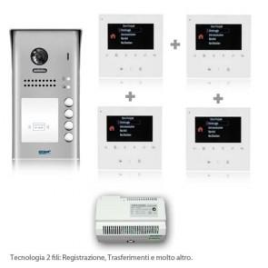 kit videocitofono 2 fili quattro famiglie