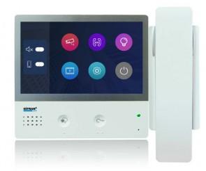 Monitor videocitofono 2 fili 7 pollici touch screen con cornetta colore bianco