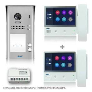 kit videocitofono 2 fili completo di due monitor 7 pollici con cornetta